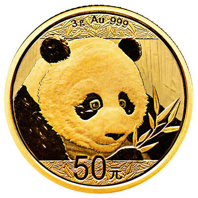 2018 China 3 g Gold Panda ¥50 Coin GEM BU Mint Sealed SKU51045