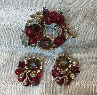 VTG Art Nouveau Floral Brooch Matching Clip Earrings Red AB Crystals & Beads