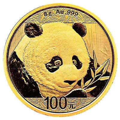 2018 China 8 g Gold Panda ¥100 Coin GEM BU Mint Sealed SKU51046