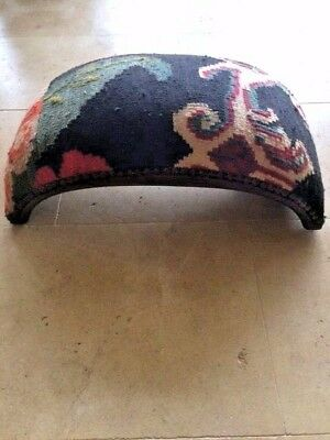 Vintage carpet covered stool used for sitting or footstool