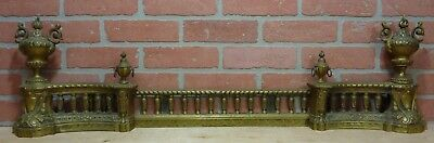 "Antique Brass Fireplace Fender beautiful patina ornate 3 pc design adj 28""-46"""