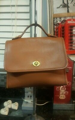 Vintage COACH Leather Court Bag #9870 Crossbody British Tan Made in USA