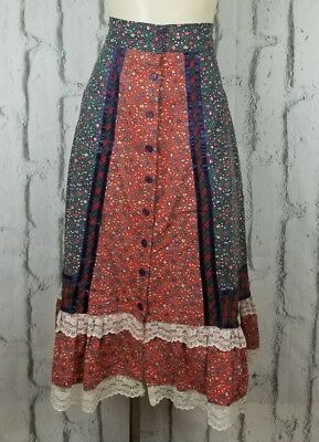 Vintage Gunne Sax Prairie Skirt Jessica's Gunnies Red Blue Calico Lace Med Large