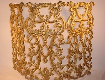 Vtg French Provincial Rococo Cast Aluminum Fireplace Screen Hollywood Regency