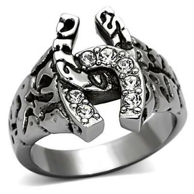 Men's Horseshoe Stainless Steel Top Grade Crystal Lucky Ring 8 - 13 TK961