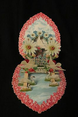 Vintage VICTORIAN Swan Pond Heart Valentine Card c. early 1900s GERMANY