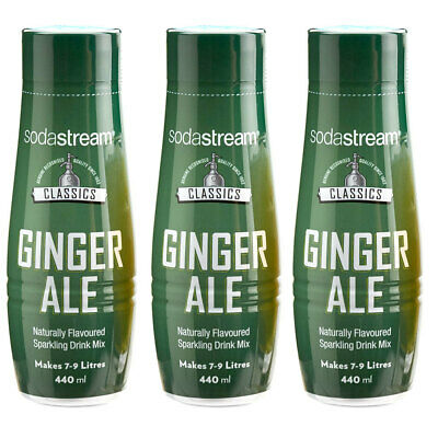 3x SodaStream Classics Ginger Ale 440ml/Sparkling Soda Water Syrup Drink Mix