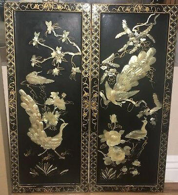 Vintage Chinese Carved Shell Mother of Pearl Wall Art Black Lacquer - 2pcs
