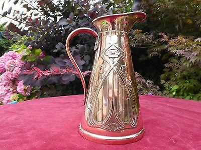 "Beautiful Original Art Nouveau Copper 7"" Jug By Joseph Sankey England Circa 1900"