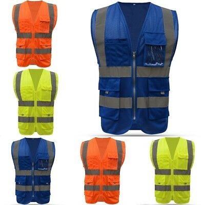 High Visibility Safety Vest With Zipper Bordered Reflective Tape Strip 4 Pockets