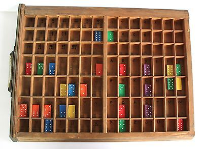 Vintage Printers Drawer Wood Tray Letterpress Type Case & Vintage Dominos Game