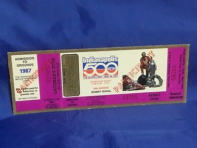 Indy Indianapolis 500 1987 UNUSED PARTICIPANT TICKET Bobby Rahal Artwork