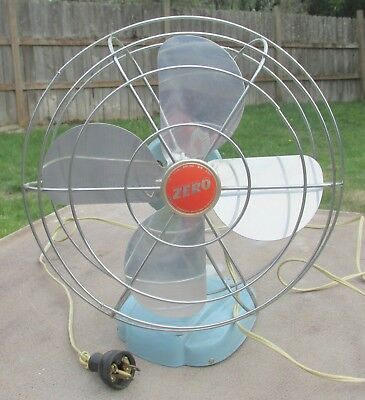 Vtg. Green Zero / McGraw Electric Model 1265R 4 Blade Oscillating Fan ~ Working