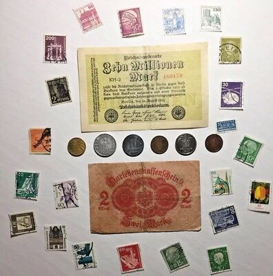 Rare Old German Collection Lot. Banknotes + Stamps & Coins - Very Collectible