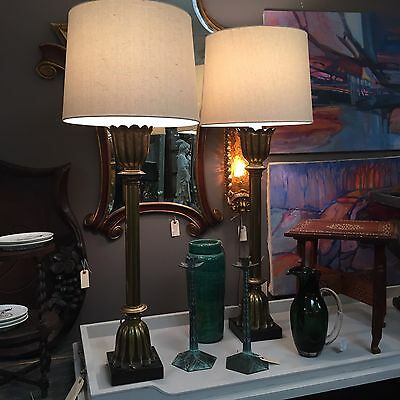 Beautiful Pair Of Mid Century Hollywood Regency Tall Hand Made Lotus Brass Lamps