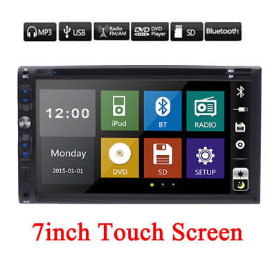 "Double 2Din 7"" In Dash Stereo Car DVD MP3 Player Bluetooth Radio iPod SD/USB TV"
