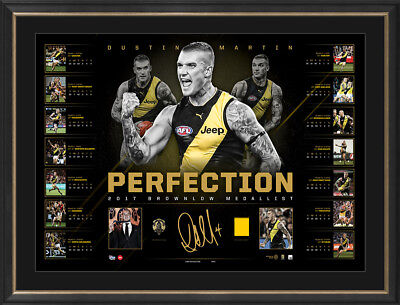 2017 Brownlow Medallist Dustin Martin Signed AFL Richmond Lithograph Framed