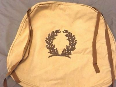 18x17 linen  cream colored bag with embroidered brown laurel wreath and ribbon
