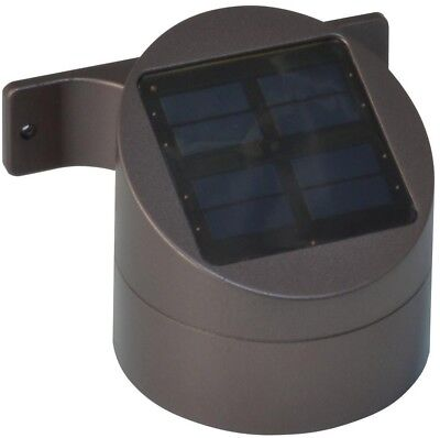 Solar Powered LED Wide Light Bronze Outdoor Pathway Wall-Mount Deck Sconce