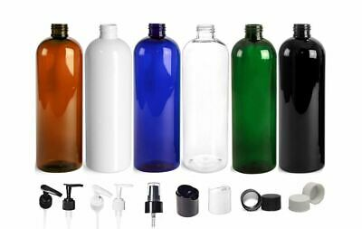 6 Pack Empty Clear or Amber 16 oz. PET Plastic Cosmo Round Bottles with Caps