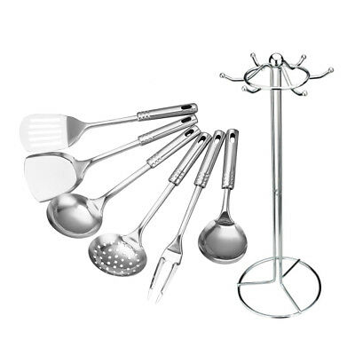 7Pcs Stainless Steel Kitchen Utensil Set Serving Spoons Spatula Cooking Tools