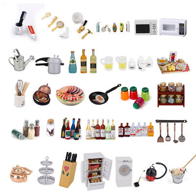 12th Dolls House Miniature Kitchen Food Bottles Refrigerator Oven Furniture Accs