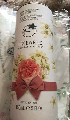 Brand New Liz Earle Cleanse & Polish Rose & Cedrat 150ml & 2 Cloths In Canister