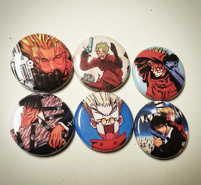 "Trigun 1"" Pin Back Buttons. Manga Anime Japan Vash the stampede 1998 collection."