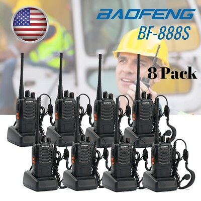 8 Pack Baofeng BF-888S UHF 16Channel 5W Handheld Two-way Radio + Free Earpiece