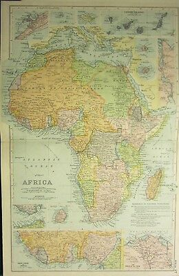 1905 Antique Map ~ Africa  Canary Madagascar Delta Nile Cape Colony Possessions