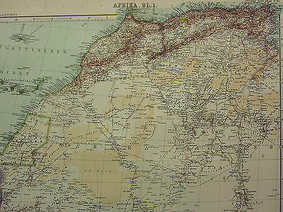 1907 Dated Map ~ North West Africa ~ Sahara Morocco Strait Of Gibraltar Canary