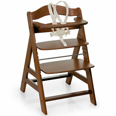 Hauck Walnut Alpha+B Grow With Your Child Wooden High Chair With Safety Harness