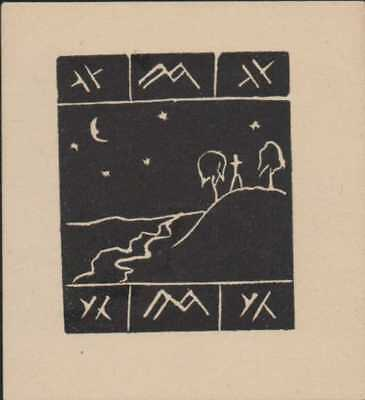 Symbols. Runes. Figure. Hilltop. Moon. Bookplate   Ri.664