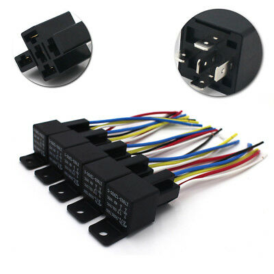 5Pc 40/30 AMP Automotive Waterproof Relay Switch Set 12V Car SPDT Harness Socket