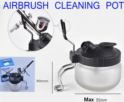 2x Airbrush Cleaning Cleaner Pot Glass Air Brush Holder Clean Paint Jar Bottle