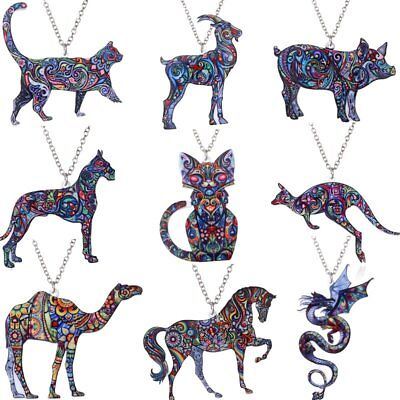 Fashion Print Pattern Dragon Cat Animals Pendant Necklace Womens Jewellery Gift
