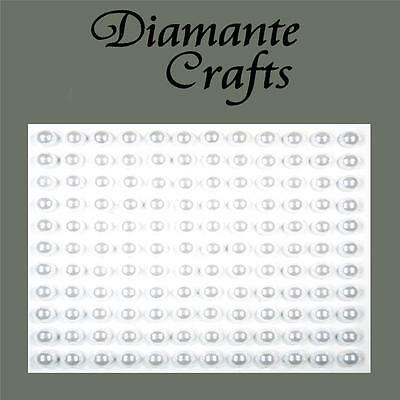 132 x 5mm White Pearl Self Adhesive Rhinestone Body Vajazzle Gems