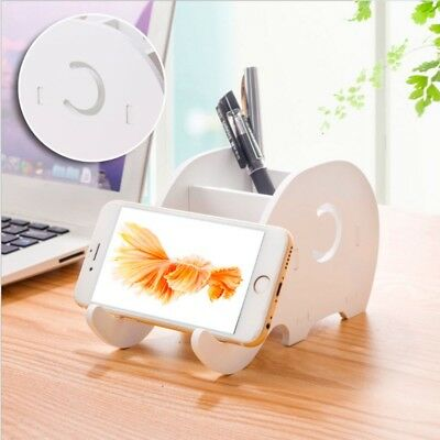 Desktop Wood Elephant Pencil Holder Phone Holder Pen Bracket Stand Storage Rack