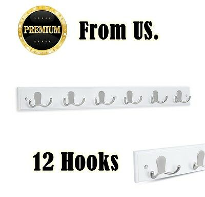 Hook Rack Holder Wall Mount 12 Metal Hooks Wood Coat Hat Hanger Bag Key Organize