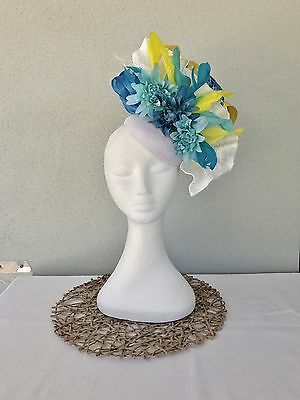 Ladies White, Blue & Yellow Fascinator Wedding Races Bespoke Melbourne Cup