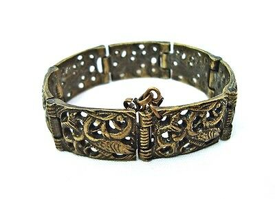 Antique vintage Brass bracelet  Filigree Byzantine style No stone