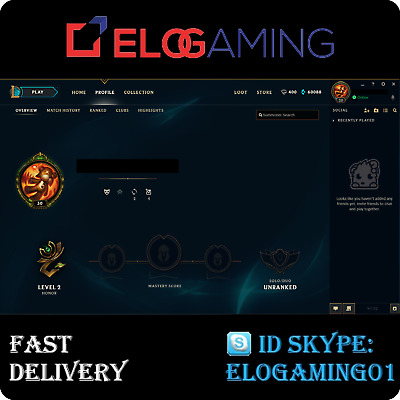 League of Legends Level 30 | LoL smurf | Unranked 60.000+ BE | Account EUW
