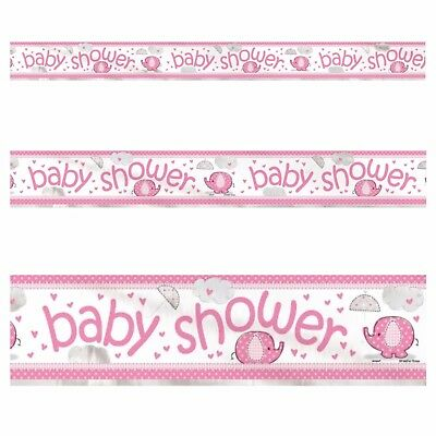 BABY SHOWER FOIL BANNER Pink Umbrellaphants Girls Party Decorations, Elephant