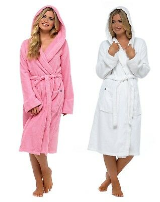 Womens Pure 100% Cotton Robe Luxury Toweling Hooded Bath Robes Dressing Gown