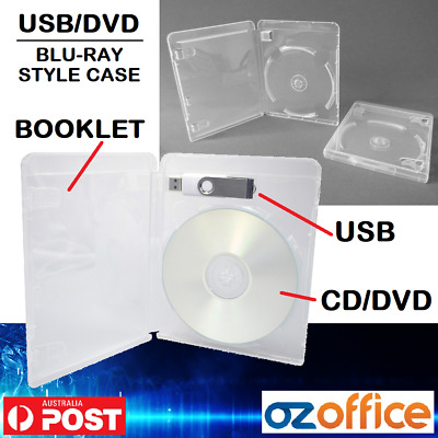Premium USB + CD DVD Case Cover - Single DVD Clear DVD Covers - 14mm Spine