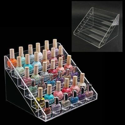 6 Gradins Acrylique Des Ongles Vernis D'art Exposition Stand Rack Maquillage