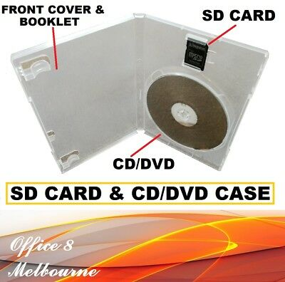 Premium SD Card + CD DVD Case Cover - Single DVD Clear DVD Covers - 14mm Spine