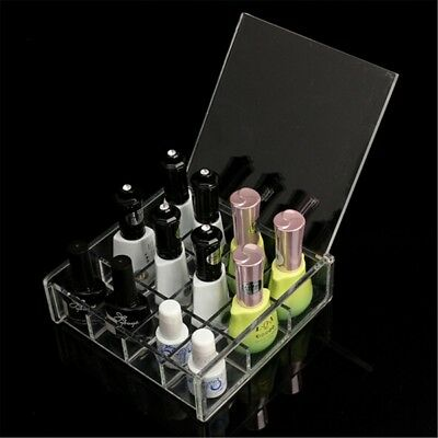 Clear Acrylic Nail Art Polish Makeup Organizer Storage Box Tips Gems Case Affic