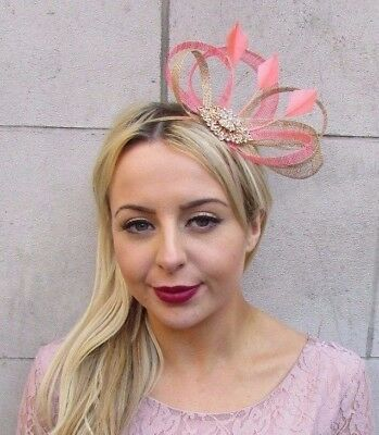 Gold Coral Sinamay Feather Fascinator Races Cocktail Alice Band Headband 4479