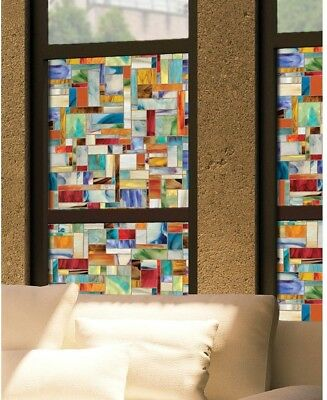 Montage Decorative Stained Glass Vibrant Color Home Window Film 24 in. x 36 in.
